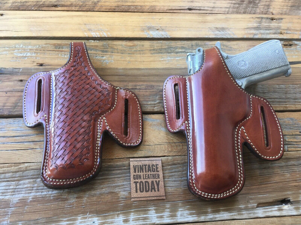 Vintage Alfonsos Basketweave Leather Lined Holster for Colt Commander .45 LEFT
