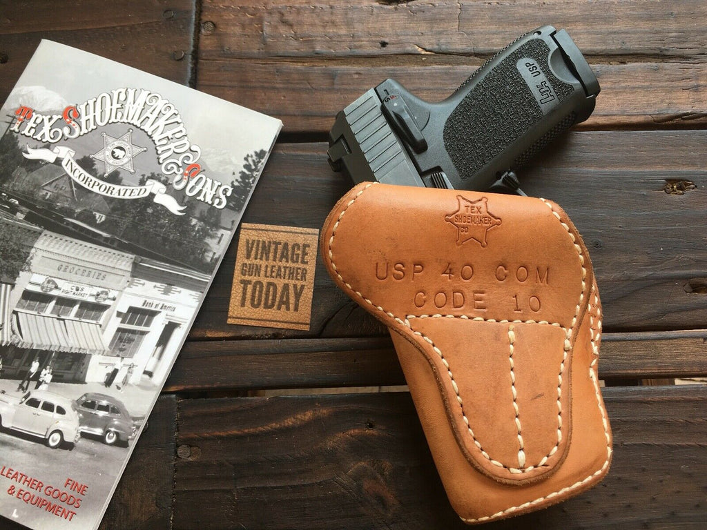 Vintage Tex Shoemaker Code 10 Competition Lined Cross Draw Holster H&K USP 40