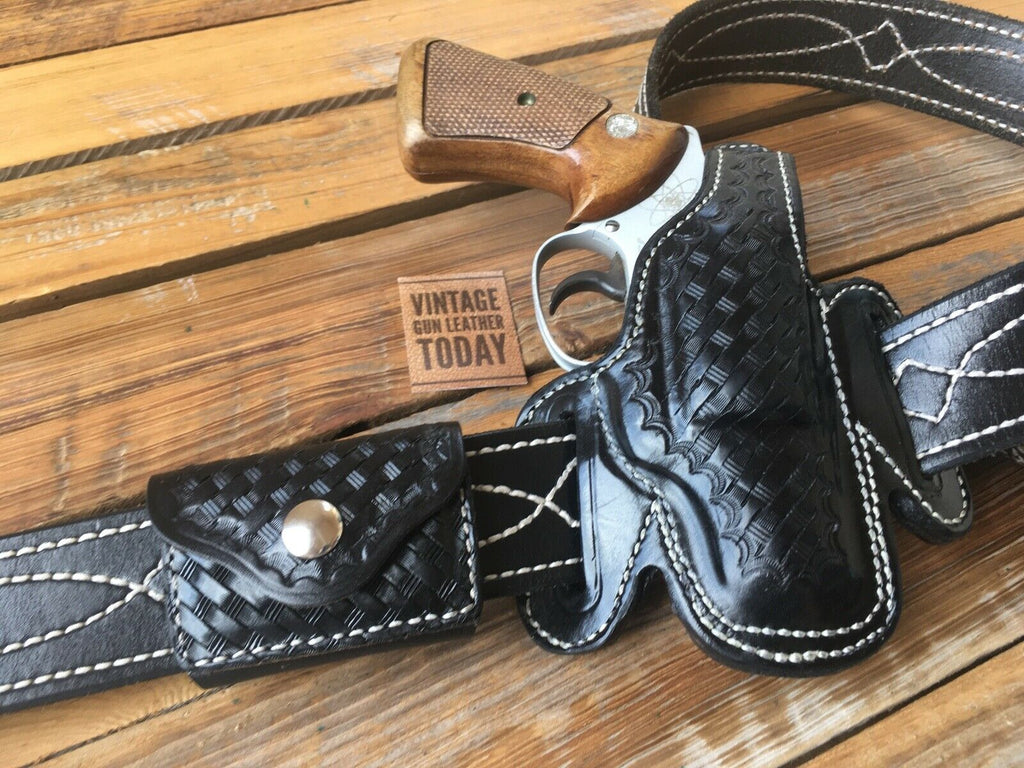 Alfonsos Suede Lined Black Basketweave Leather Holster for Chief S&W J Colt Detective Right