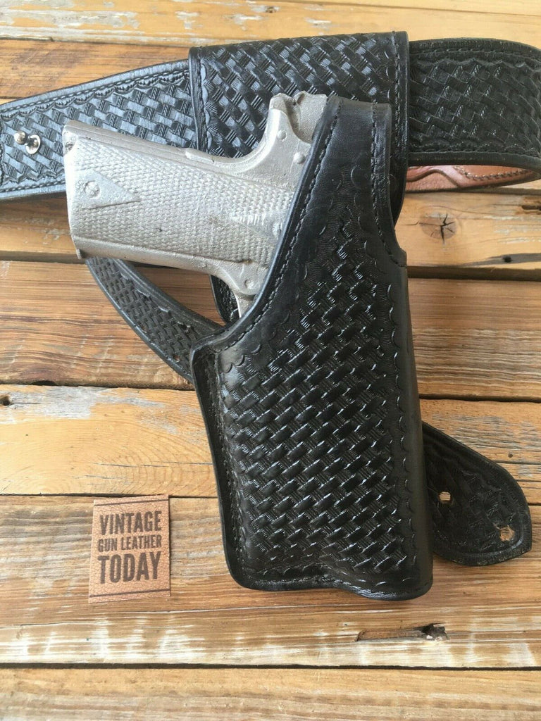 Tex Shoemaker Police Duty Basketweave Leather Swivel Holster For 1911 x300 Light