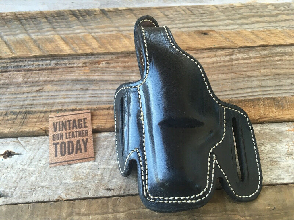 Alfonsos Suede Lined Black Leather Holster for Chief S&W J Colt Detective Left