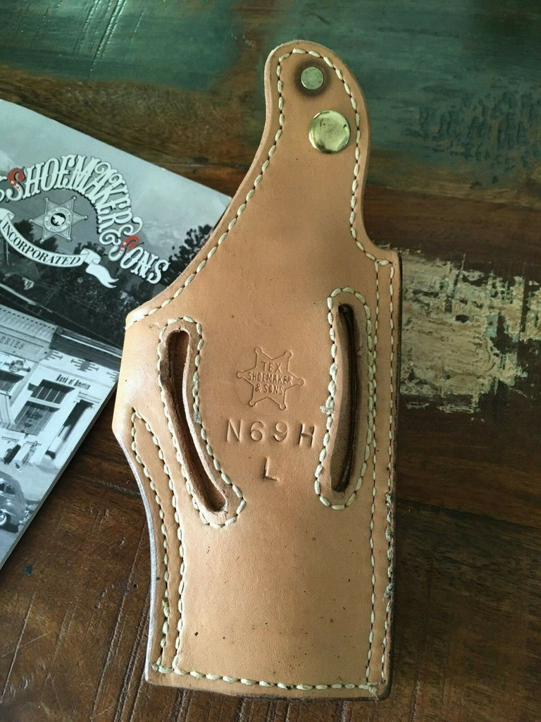 Vintage Tex Shoemaker N69H Brown Basketweave Leather Lined Holster for S&W 4506