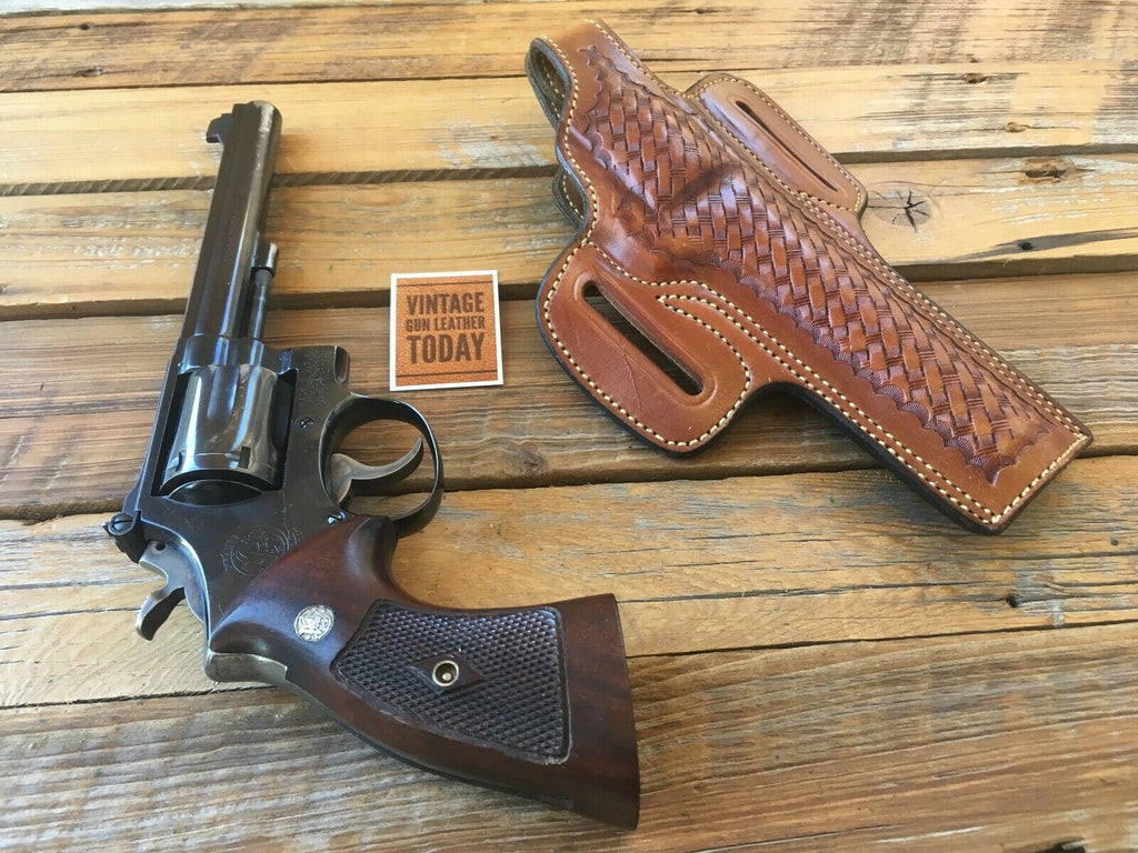 Alfonso's Brown Basketweave Suede Lined F60 For S&W Medium K Frame Revolver 6""