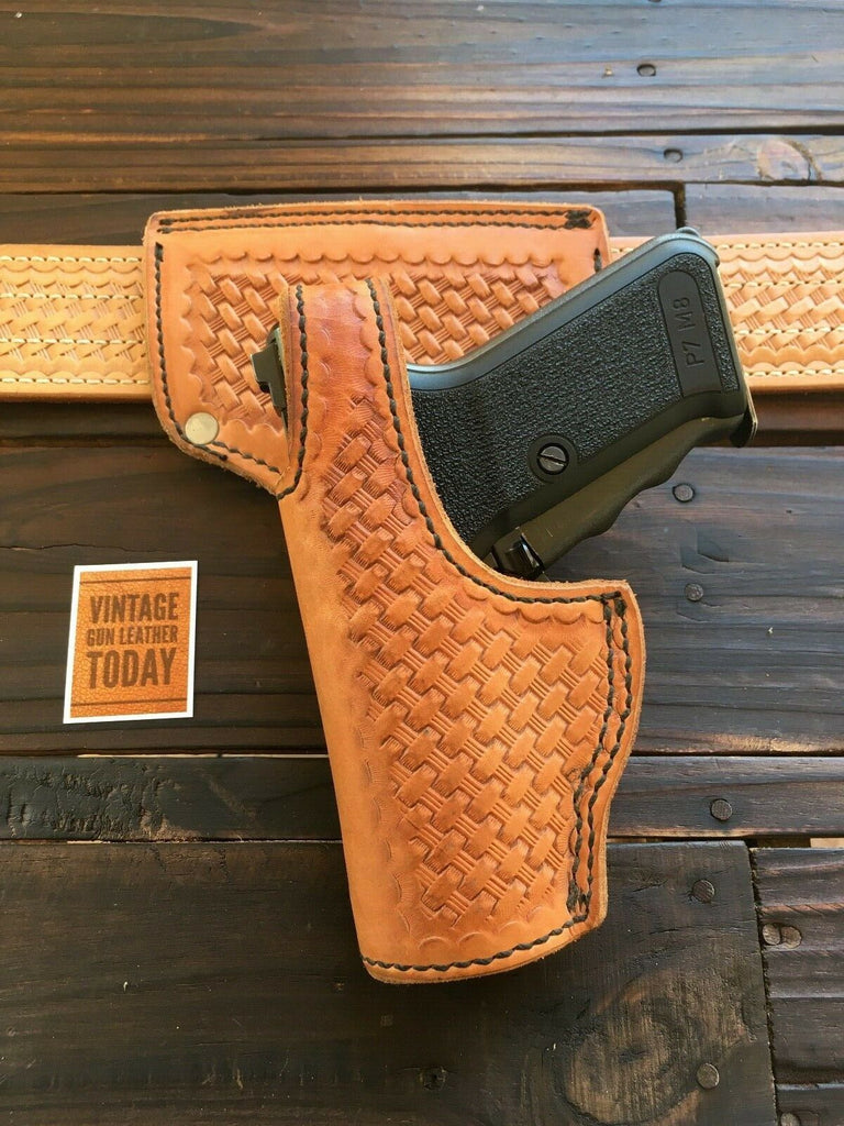 Tex Shoemaker Natural Brown Oil Tan Basketweave Duty Holster For P7M13 P7M8 Left