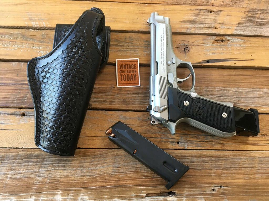 Tex Shoemaker Black Basketweave Leather Lined Holster For Beretta 92F 96 M9