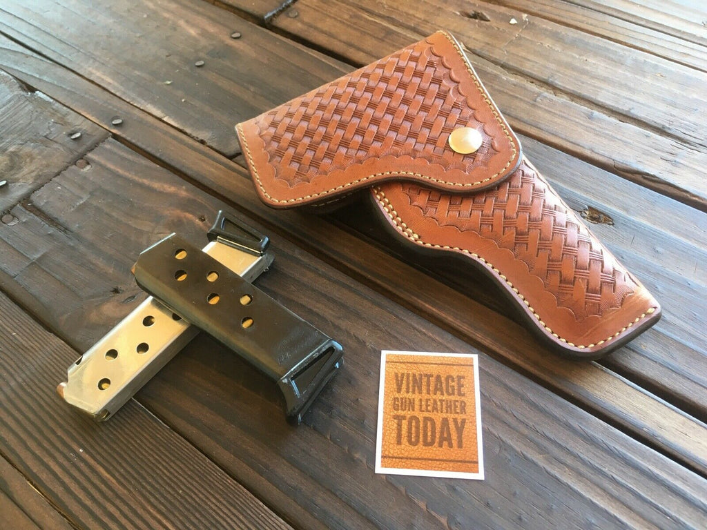 Vintage Alfonsos Brown Basketweave Suede Lined Flap Holster For Walther PPK