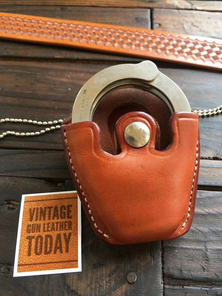 Alfonso's Brown Leather Detective Open Top Cuff Case For Peerless Chain Cuffs