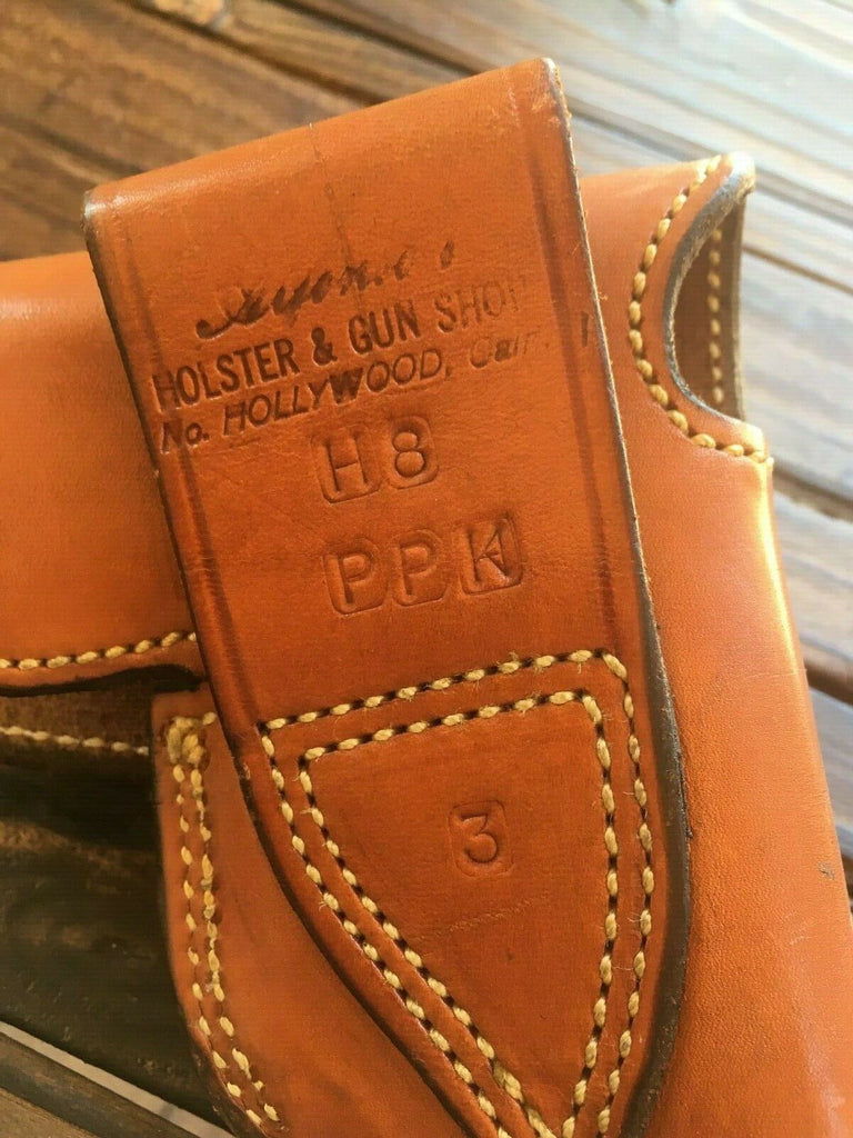 Vintage Alfonsos Plain Brown Leather Suede Lined Flap Holster For Walther PPK w/ Magazine Holder