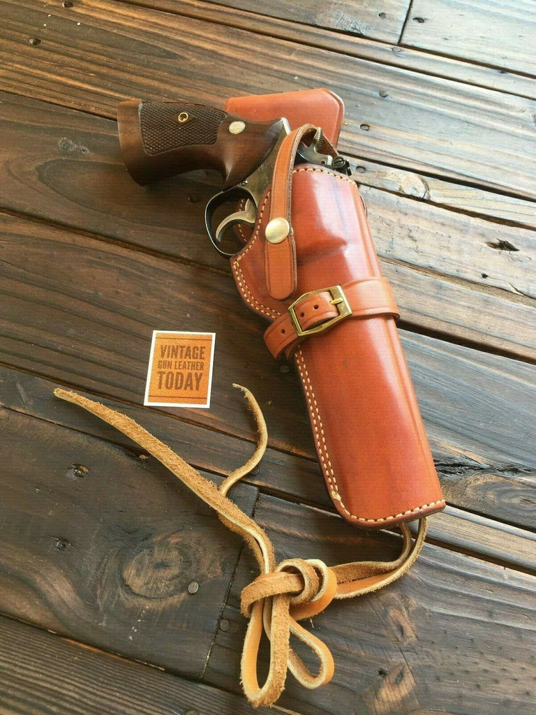 "Alfonso's Brown Leather Suede Lined Western Holster for 6"" L Frame 686 Revolver"