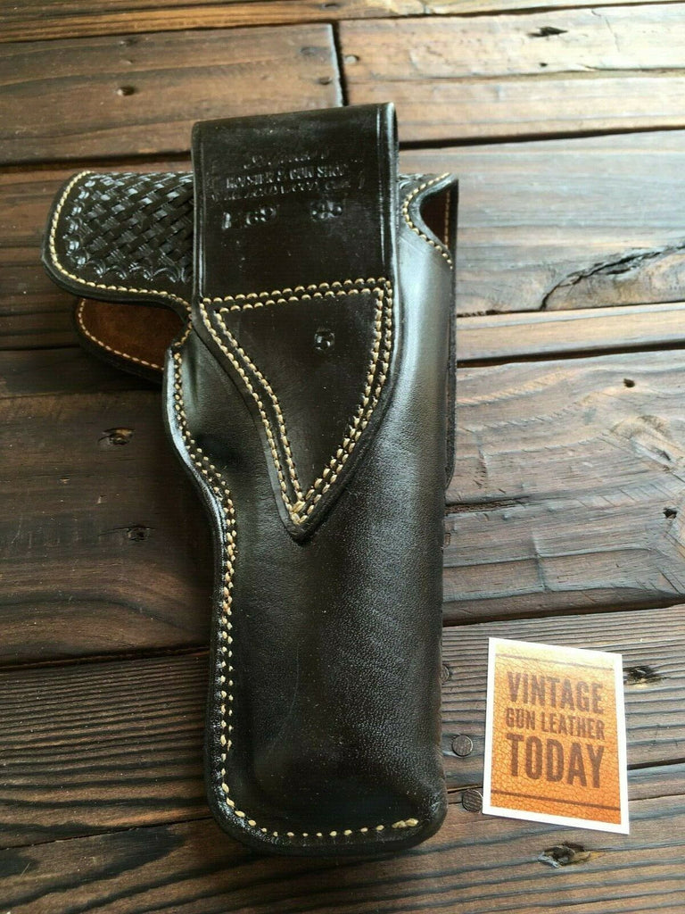 Alfonsos Black Basketweave Suede Lined Flap Holster L For Colt 45 1911 Hi Power