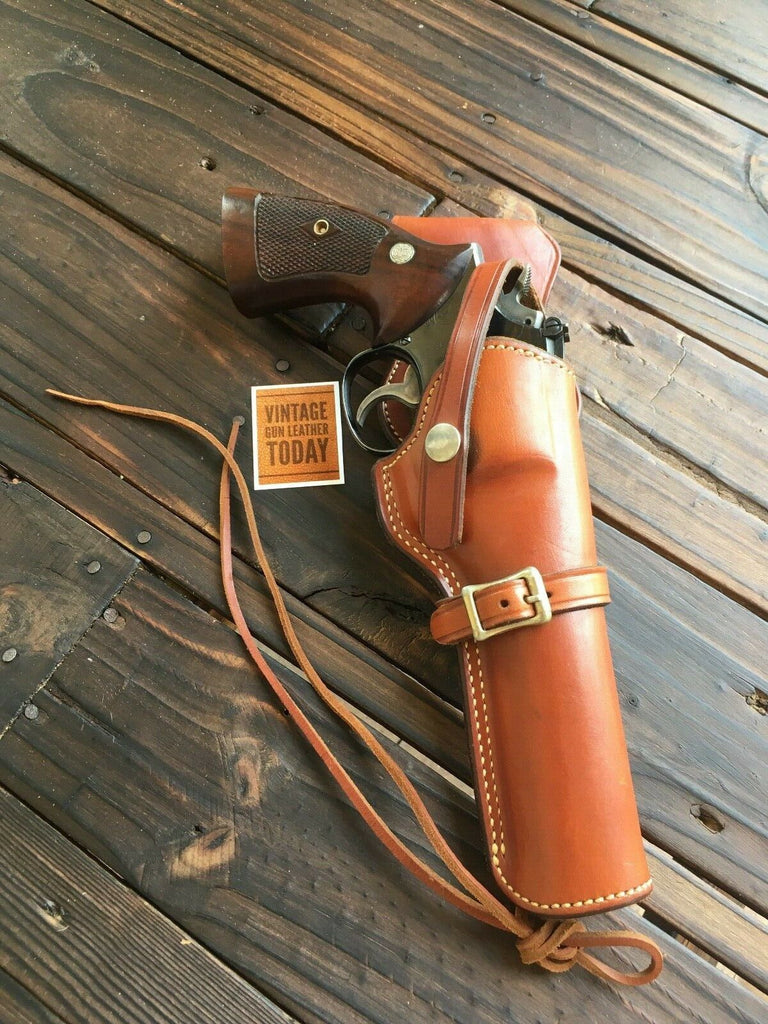 "Alfonso's Brown Leather Suede Lined Western Holster for 6"" K Frame Revolver"