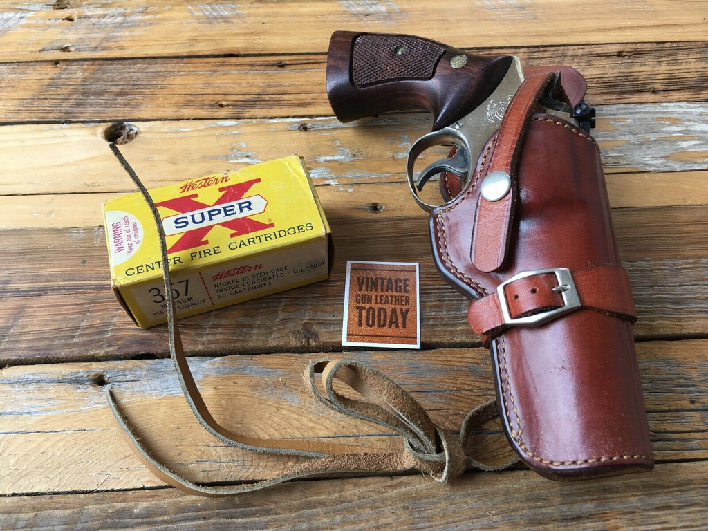"Alfonso's Brown Leather Suede Lined Western Holster for 4"" K Frame Revolver"