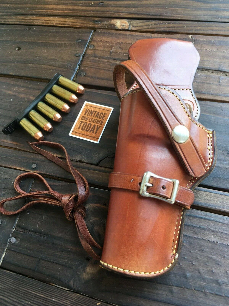 "Alfonso's Brown Leather Suede Lined Western Holster for 4"" N Frame 29 Revolver LEFT"