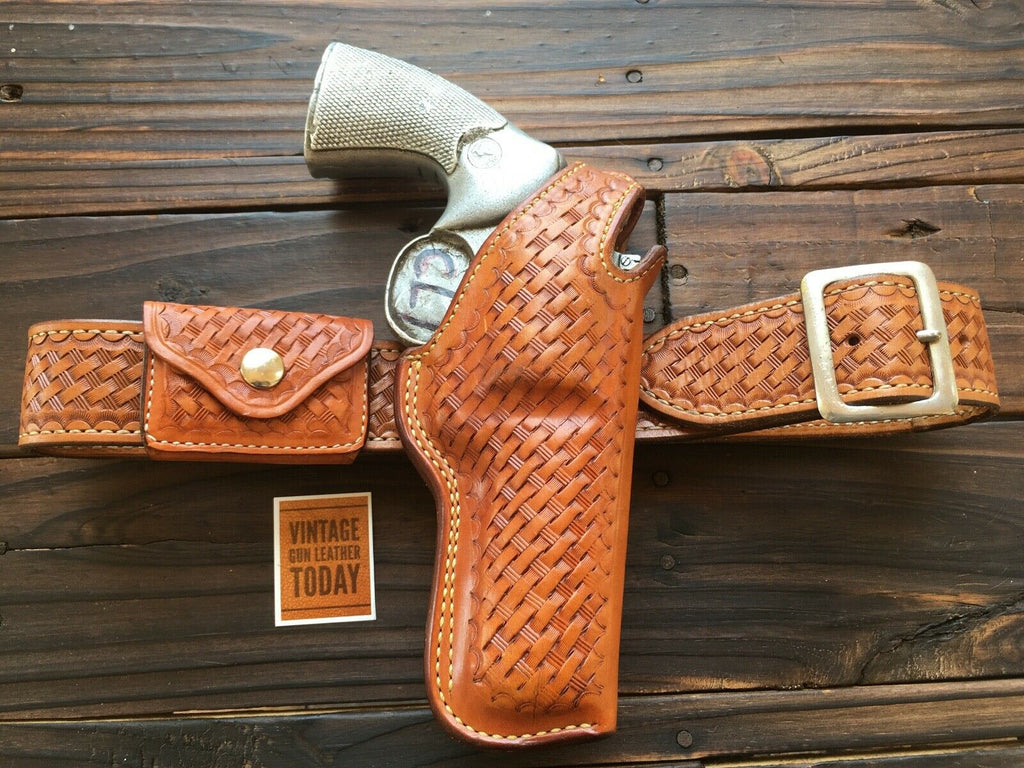 Alfonso's Brown Basketweave G77 Brown Basketweave Leather Lined For Colt Python