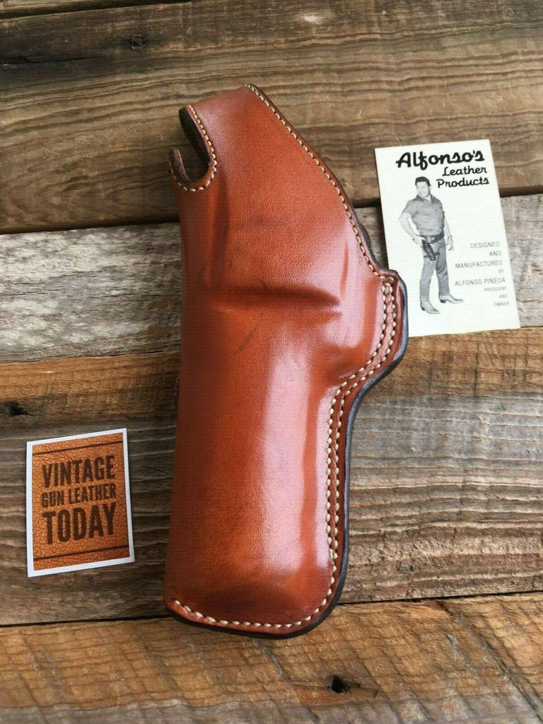 "Alfonso's Brown Leather Suede Lined Holster For S&W 586 L Frame Revolver 4"" LEFT"