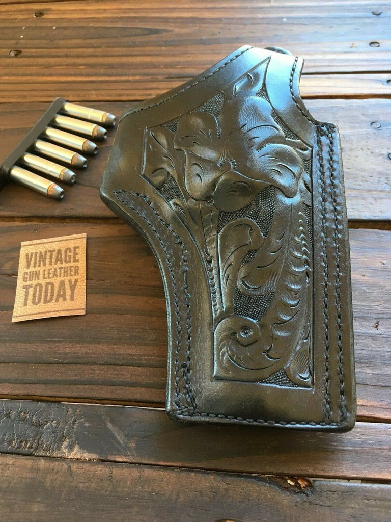 Vintage Tex Shoemaker Leather Floral Carved Holster For S&W L, K Frame Revolver