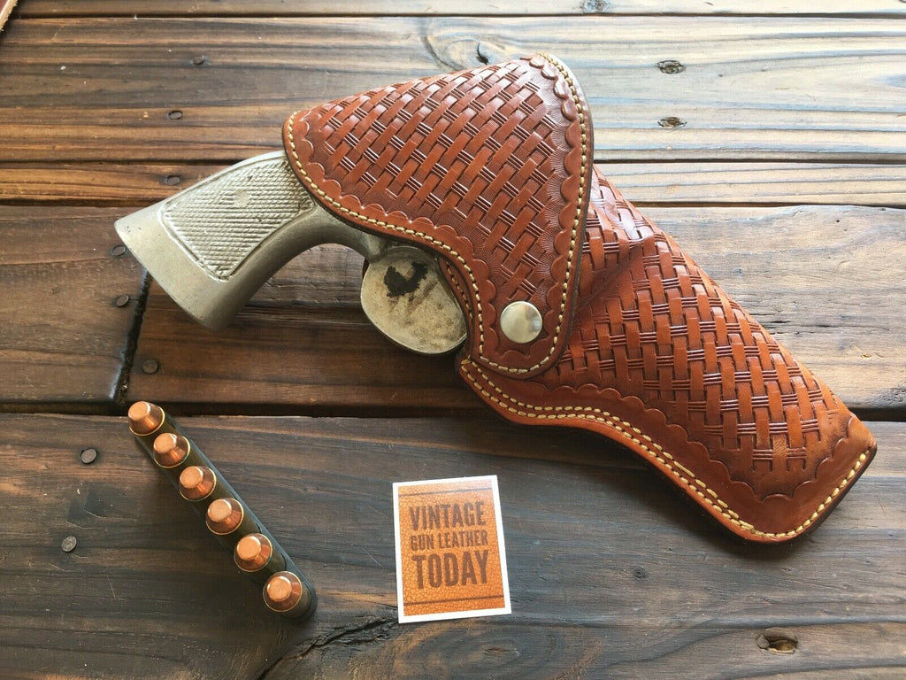 Alfonsos Brown Basketweave Flap Holster For S&W N Large Frame Revolver 4""