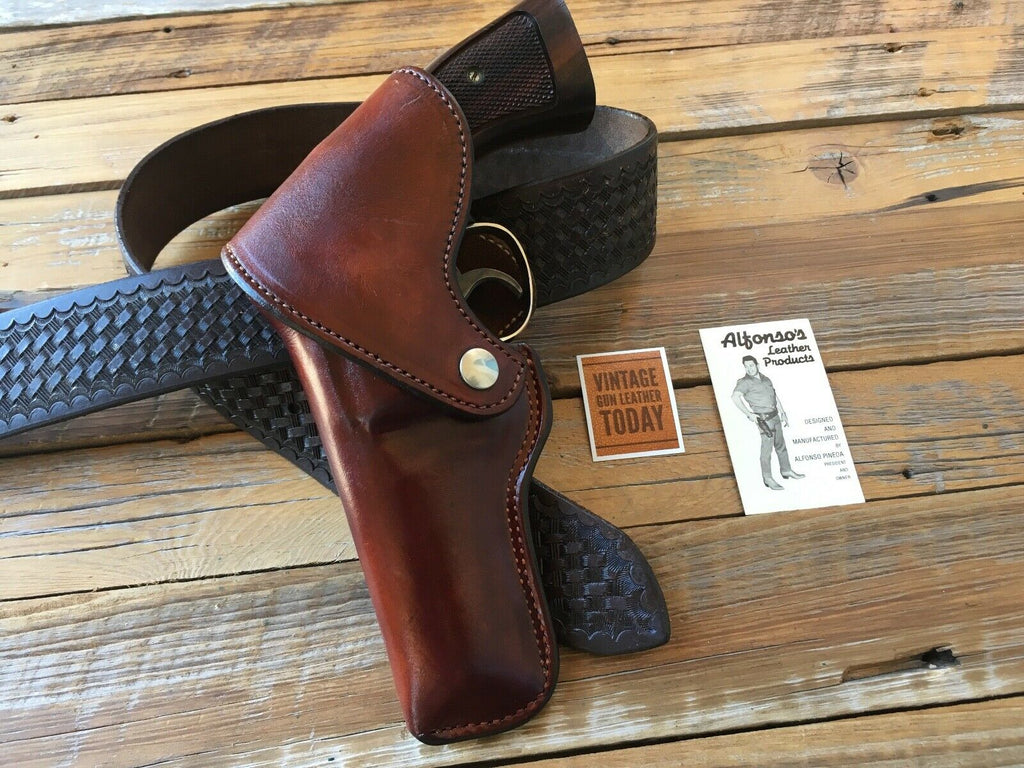Vintage Alfonsos Cordovan Brown Flap Holster For S&W Medium K Frame Revolver 4""