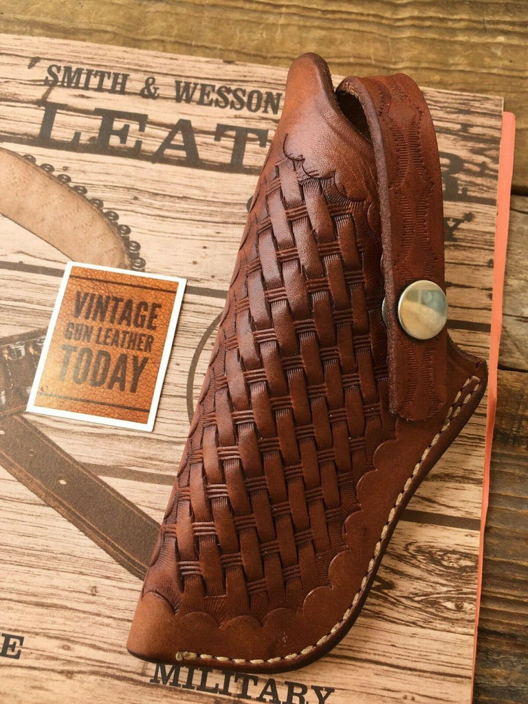 Vintage S&W Brown Basket Stamped 02 43 Left Holster For 1955 22 32 Kit Gun