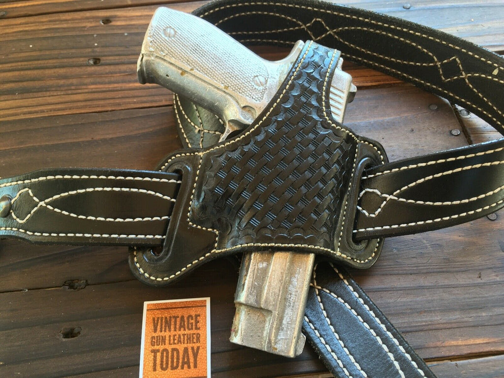 Alfonso's Black Basketweave Leather Suede Lined Holster For Sig P226