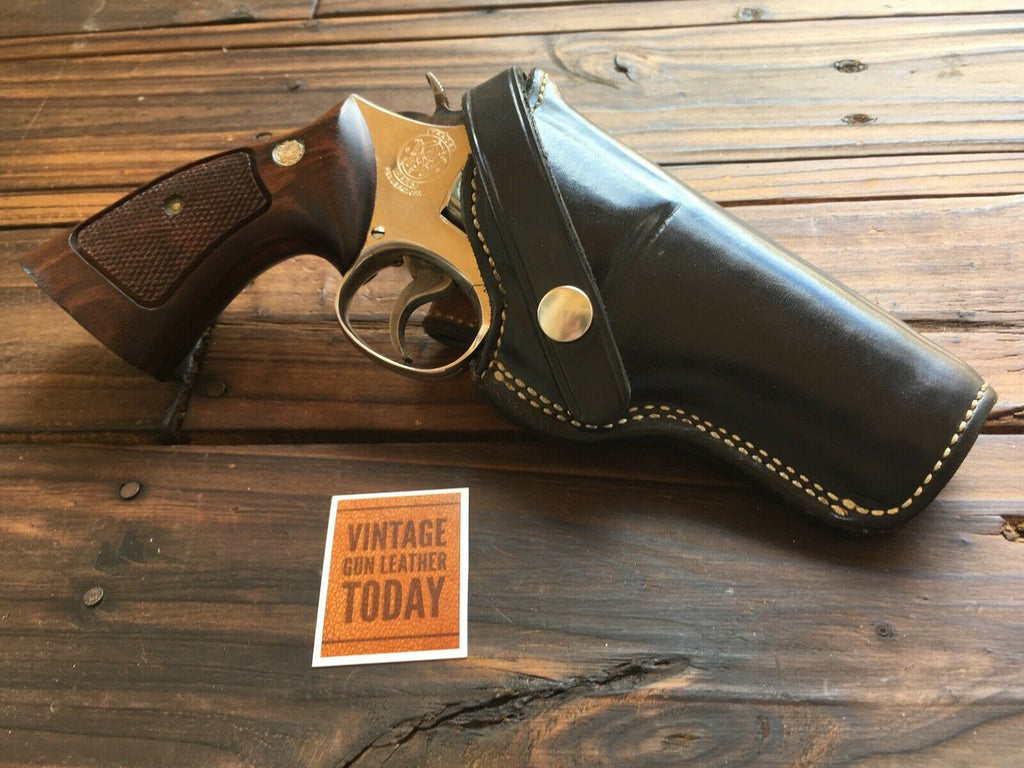 "Alfonso's Plain Black Leather Lined Holster for S&W 586 686 L Frame 4"" Revolver"