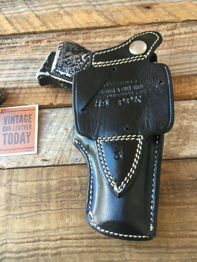 Alfonso's Black Basketweave Leather Suede Lined Holster For Walther PP PPK Left