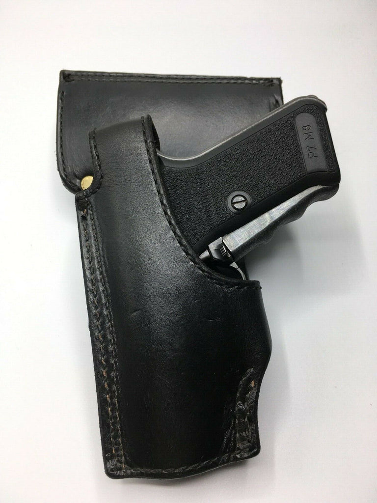 Tex Shoemaker NJ 63 Plain Black Police Duty Holster P7M8 P7M13 Leather Lined Left