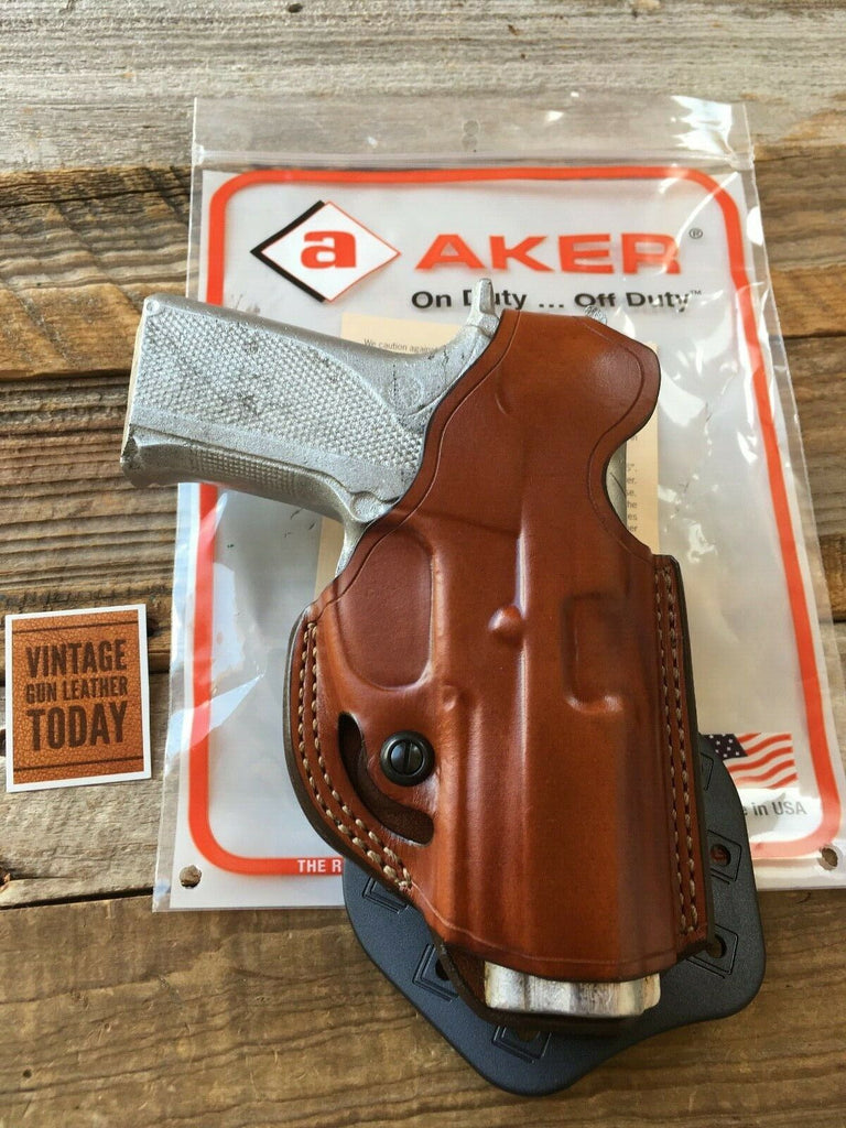 Aker Brown Leather Flatsider Paddle Holster For S&W 4006 TSW Round Trigger