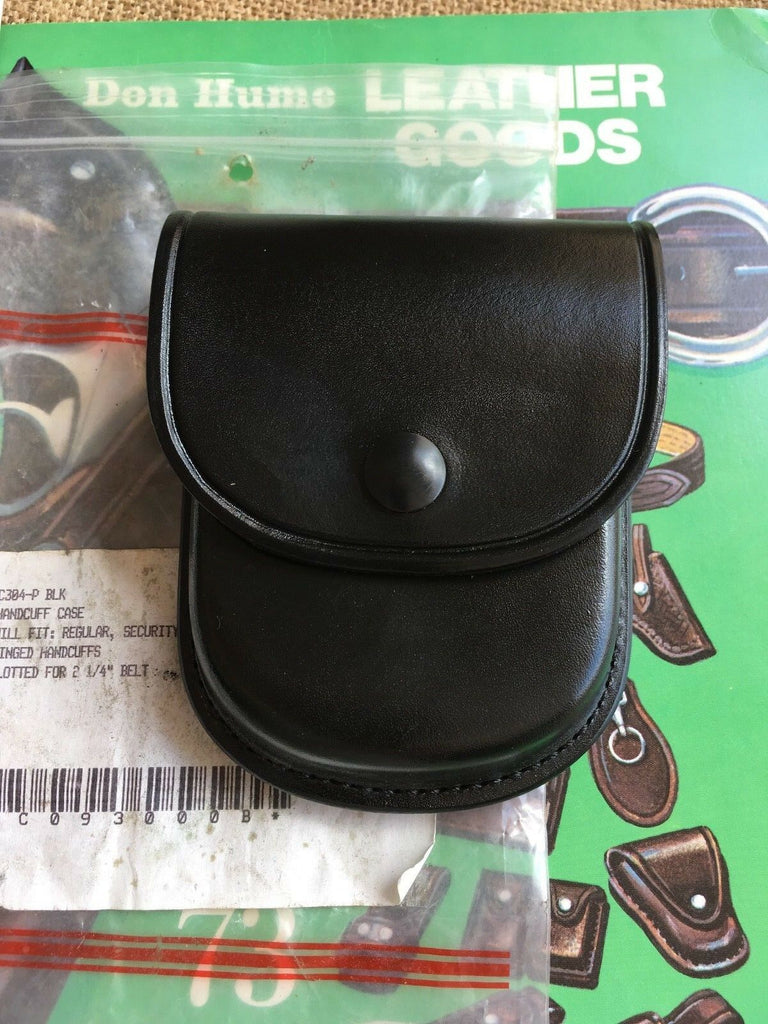 Don Hume C304 Plain Black Leather Cuff Case Regular Security and Hinged Handcuff