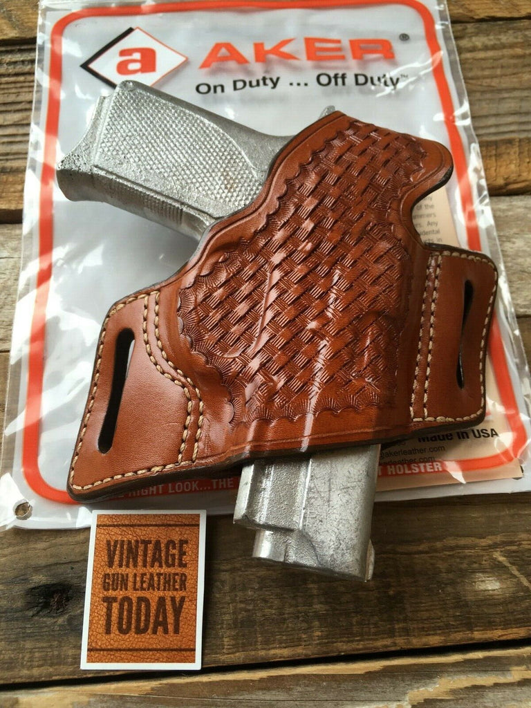 Vintage AKER Brown Basketweave Holster For S&W 3900 T Series TSW W/ Rail