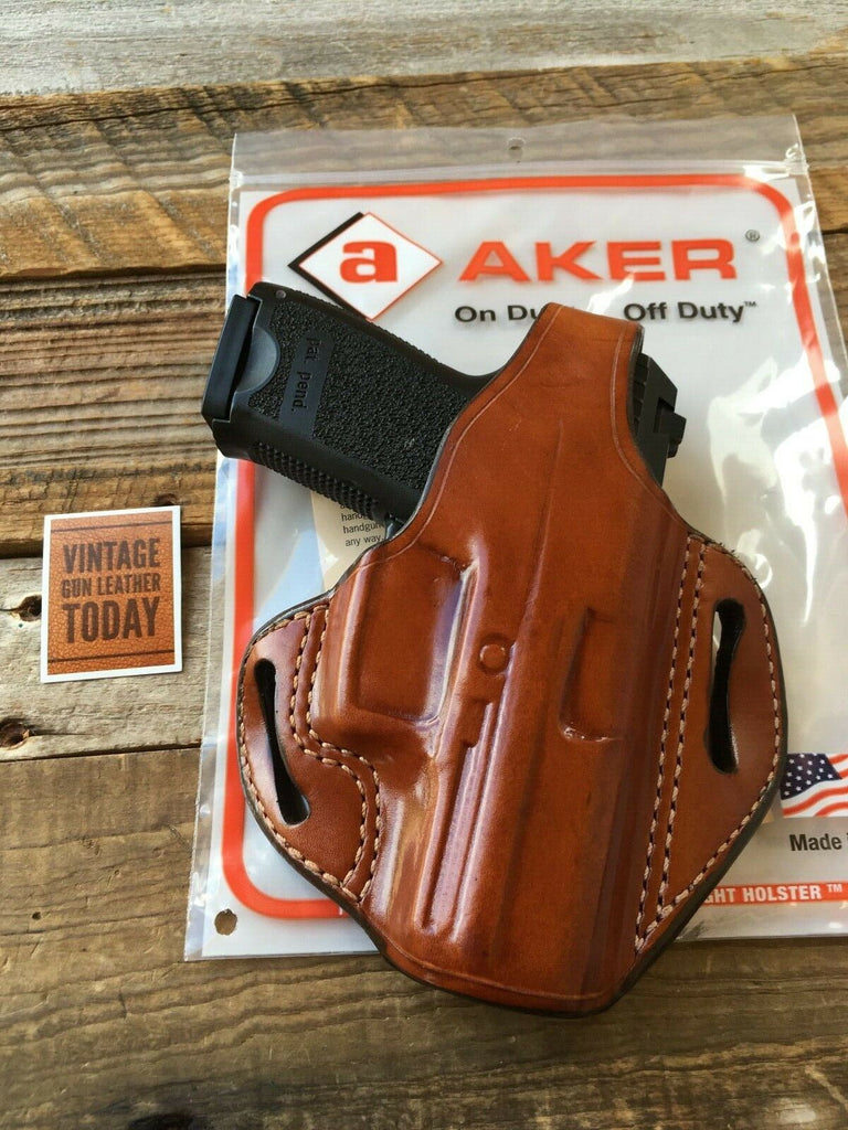 Aker Brown Leather Bodyguard Holster For HK H&K USP Compact 40, 9, .357 Sig