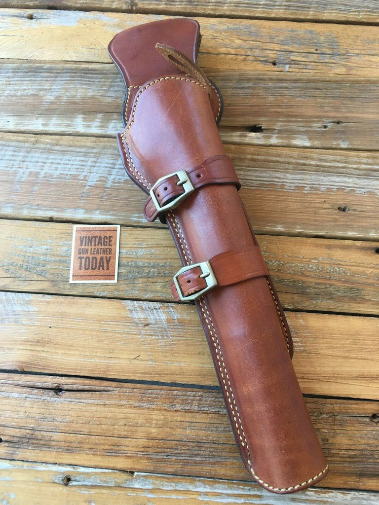 "Alfonso's Brown Leather Lined Western Holster for 10.5"" .22 Ruger SA Revolver."