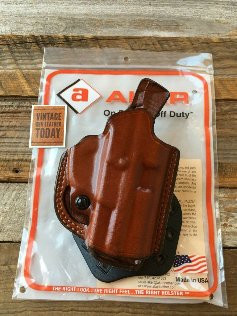 Aker Brown Leather Flatsider Open Top Paddle Holster For Sig P2340 Right