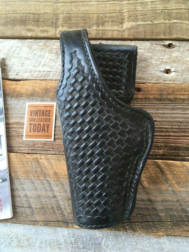 Tex Shoemaker Black Basketweave Smooth Leather Lined Holster For HK USP 45 LEFT