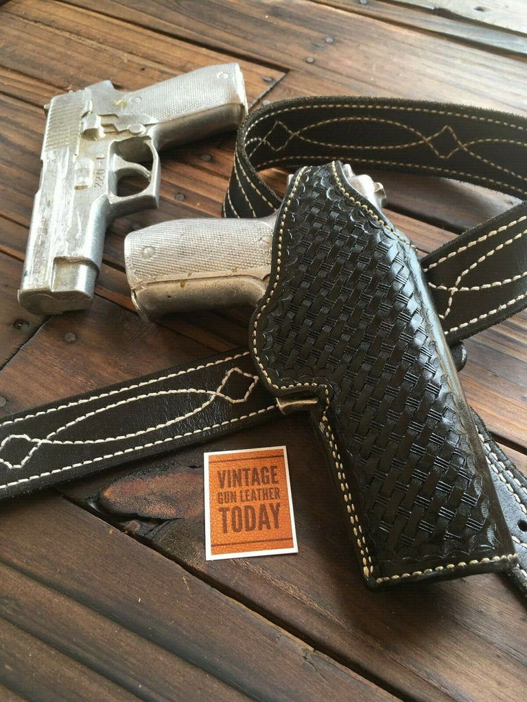 Alfonso's Black Basketweave Leather Suede Lined Holster For Sig P226 P220