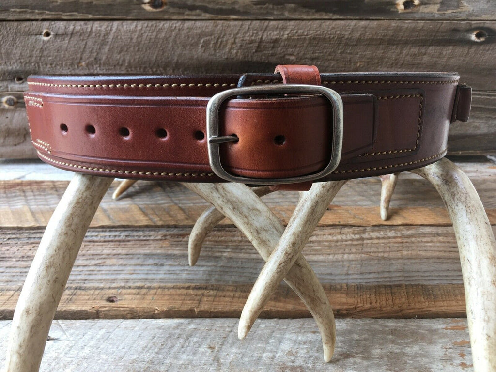 "SZ 32 Alfonsos Suede Lined Brown Leather Cartridge Gun Belt .44 45 LC 30"" to 35"""