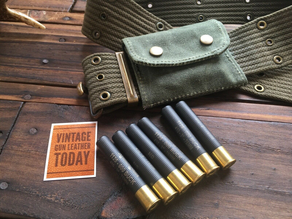 Waxed OD Green Canvas 6 Round .410 Ga / 12 / 20 Gauge Ammo Cartridge Pouch Judge