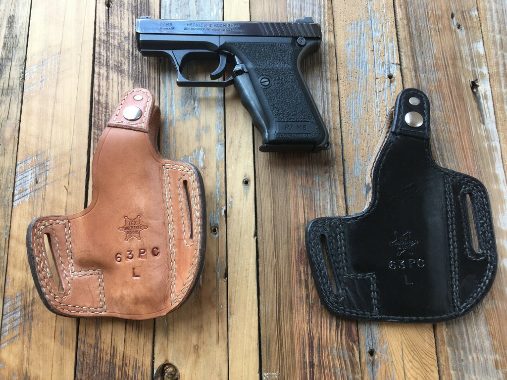 Vintage Tex Shoemaker Black Leather Lined Holster For HK P7M8 P7M13 LEFT