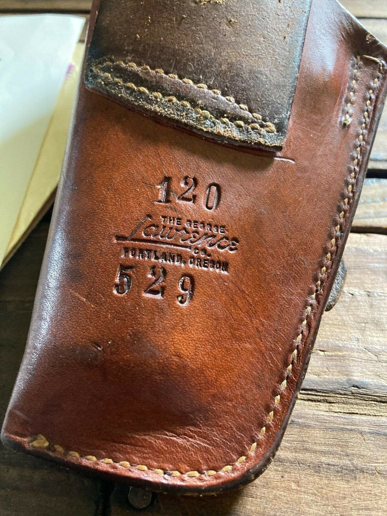 Vintage George Lawrence 120 Kieth Brown Leather Holster for S&W Mod. 27 3 1/2""