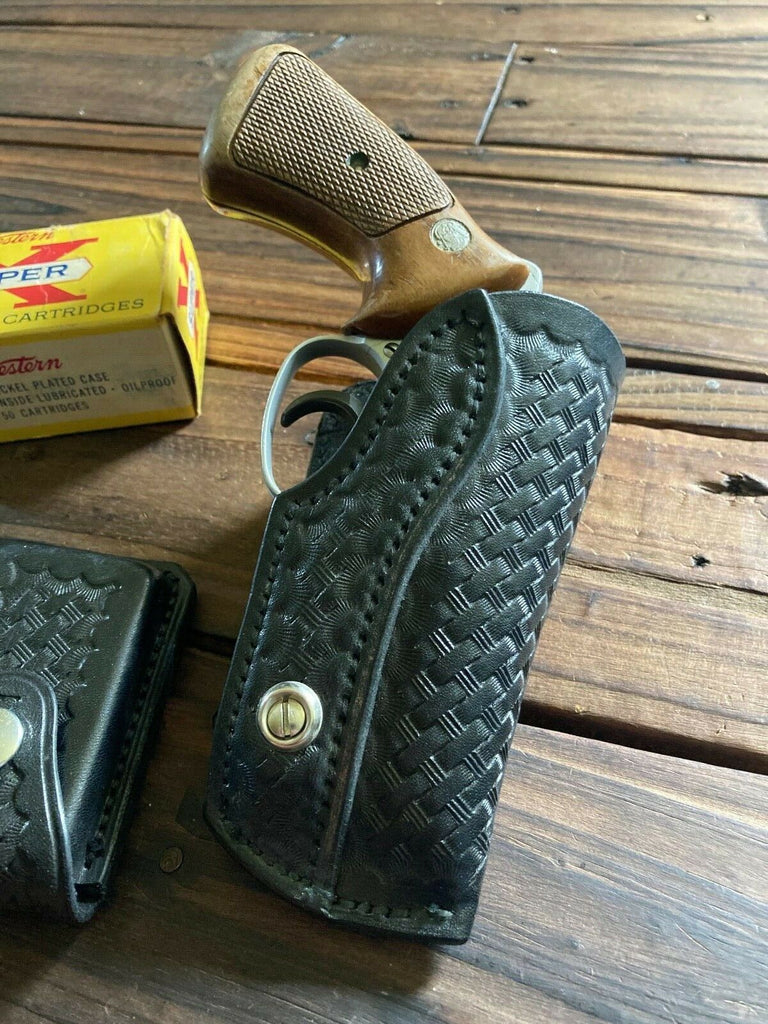 "Vintage Earl Ginn Black Basketweave Small Revolver Holster Chief Detective 2"" J"