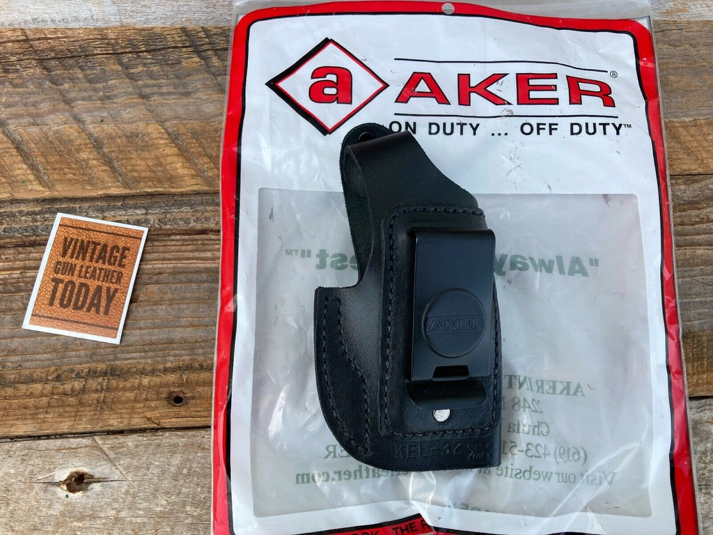 AKER Discontinued Black Leather IWB Spring Special Holster For KELTEC P32