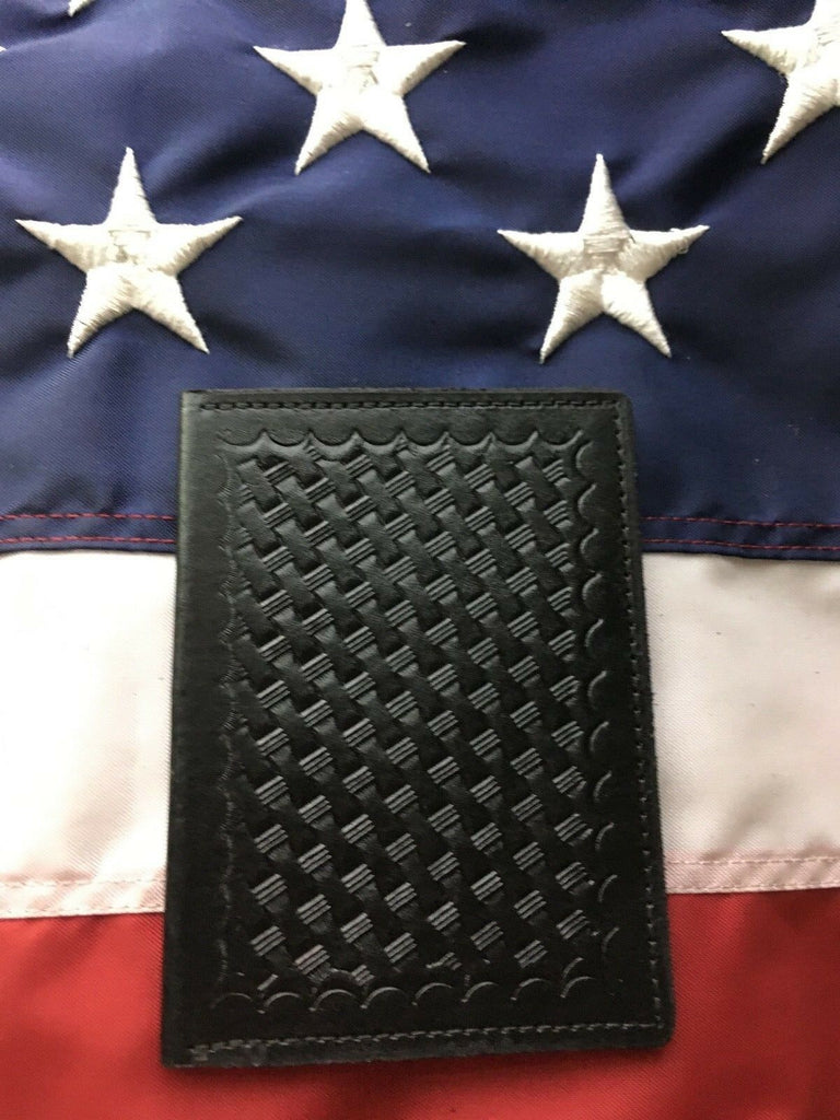Tex Shoemaker Black Leather Basketweave Government 2 ID Wallet FBI DEA CIA ATF