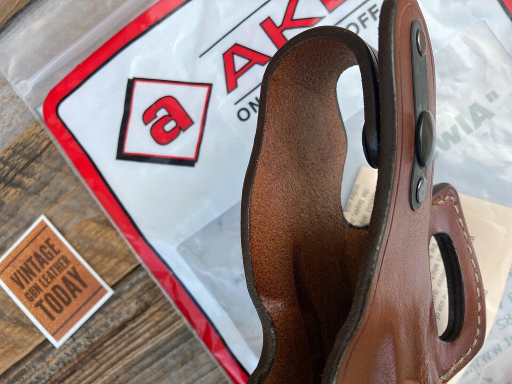 Discontinued AKER Plain Brown Leather Left Holster For H&K 40 9mm .357 Compact