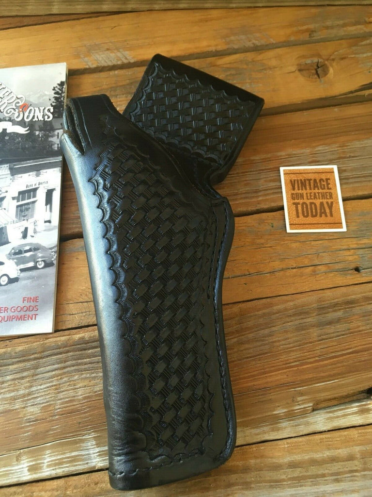 "Tex Shoemaker Black Basketweave Leather 35K Border Holster For 5"" K Frame Revolver"