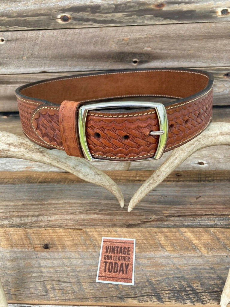 Alfonsos Hand Stamped Leather Suede Lined Pistol Gun Belt Size 32 Western