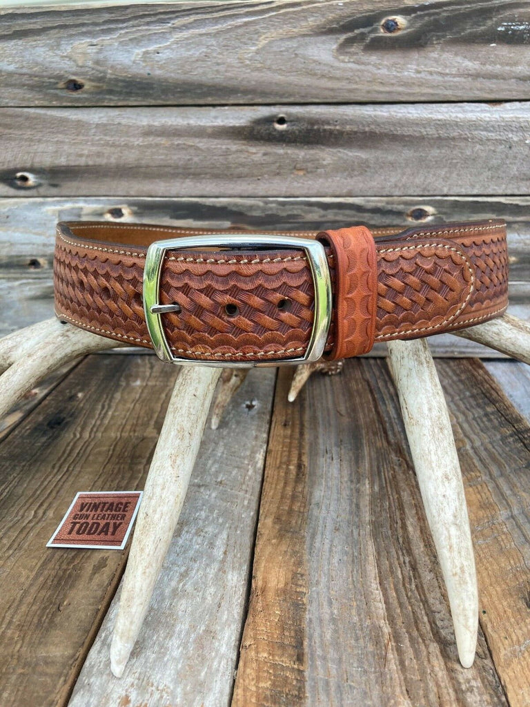 Alfonsos Hand Stamped Suede Lined Pistol Gun Belt Size 34