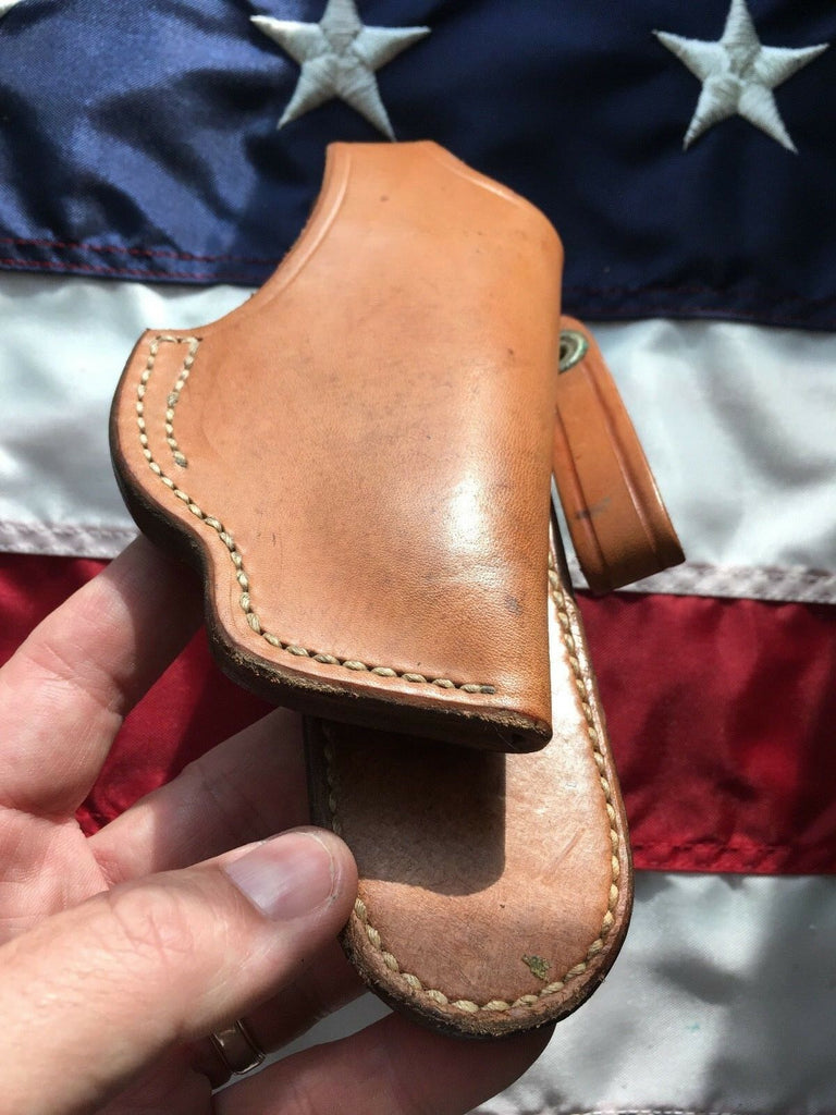 Tex Shoemaker 60PL Plain Brown Leather OWB Paddle Holster Fits AMT BACKUP .380