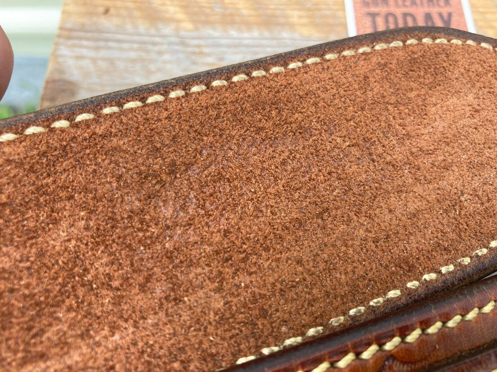 Alfonsos Hand Stamped Leather Suede Lined Pistol Gun Belt Size 32 Western 222