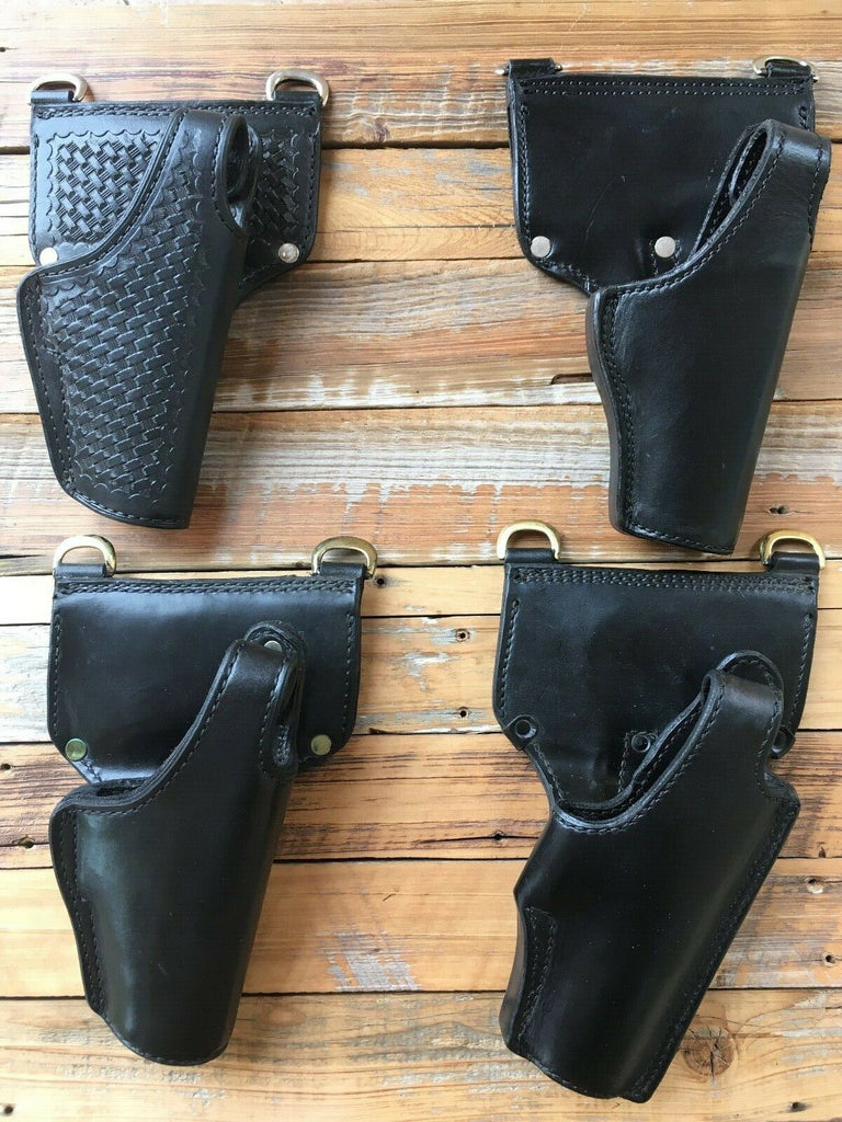 Tex Shoemaker Black Leather Duty Holster For Glock w/ Sam Browne Rings