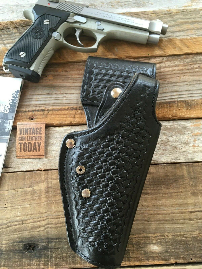 Tex Shoemaker Black Basketweave Leather Swivel Holster For Beretta 92F Retention
